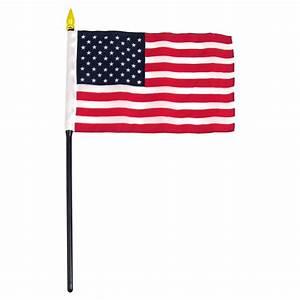 "4"" x 6"" USA Stick Flag - Black Staff"