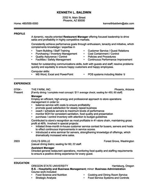 Restaurant Resume Objective by Sle Resume Templates Restaurant Manager Resume Sle