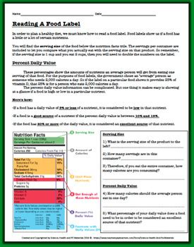 reading a food label worksheet by science health and pe