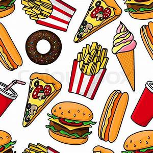 Junk food and drinks seamless pattern with retro stylized ...