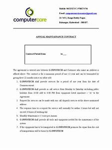 computer repair service agreement template - computer care amc format