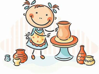Pottery Making Activity Poterie Creative Wheel Illustrations