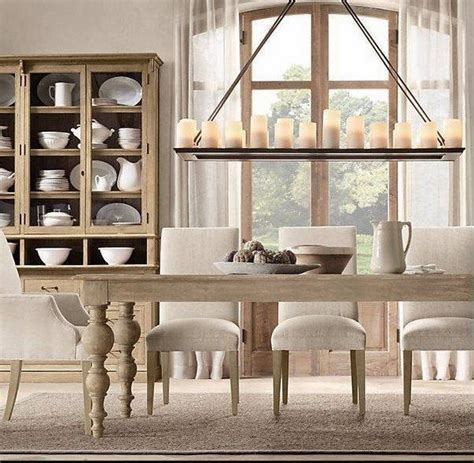 Rectangle candle chandelier rustic dining room decorating