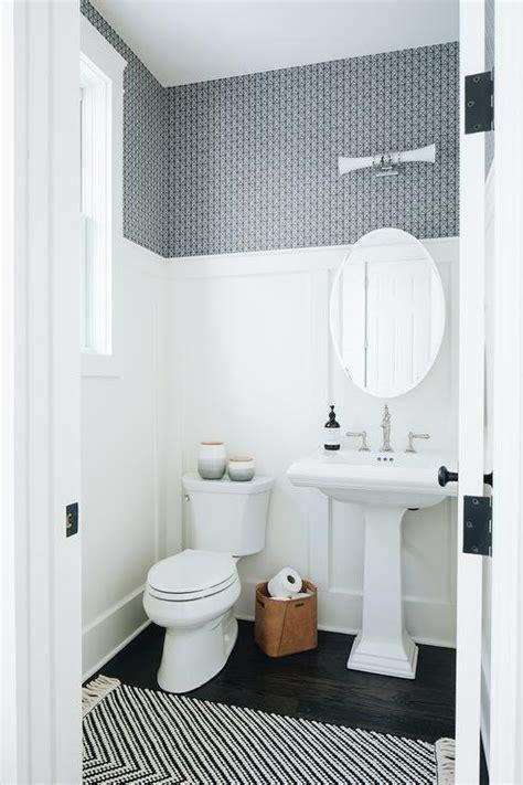 white  blue powder room  white beadboard wall trim
