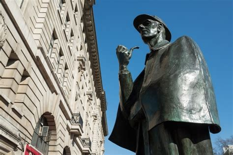 sherlock holmes london statue street baker know outside much shutterstock really england station science record montcalm arch marble podcast listen