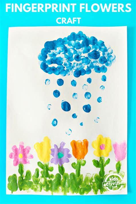 april showers bring may flowers fingerprint craft to make 548 | april showers hero