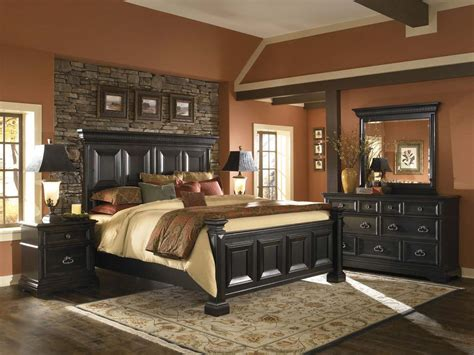 alluring black color accent in traditional bedroom with best bed close brick wall between cute