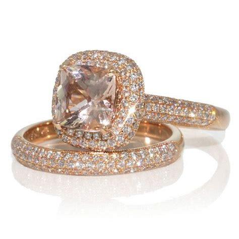 karat rose gold cushion cut pave diamond filigree halo morganite engagement ring bridal