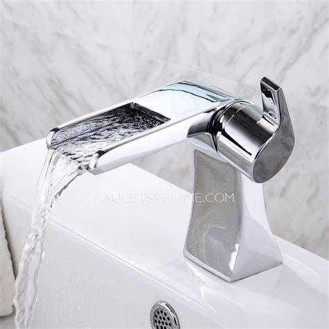 cool designed short waterfall deck mounted bathroom sink faucet