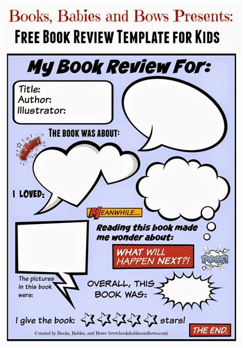 book review template  kids  images book