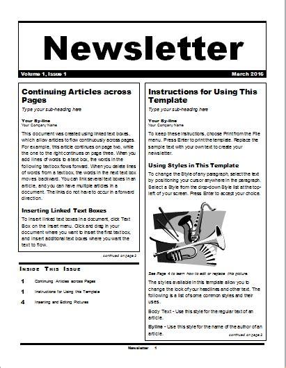 editable newsletter templates  ms word document hub