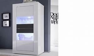 Vitrine Blanc Laqué : vitrine laque blanc et anthracite design focus 3 avec led en option ~ Teatrodelosmanantiales.com Idées de Décoration
