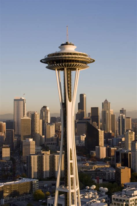 Space Needle During Sunset In Seattle, Washington