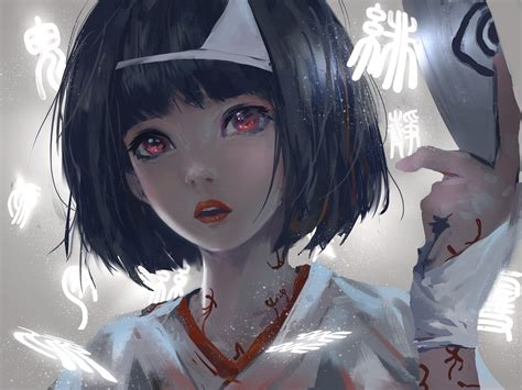 Asian Anime Wallpaper - hair asian wlop looking at