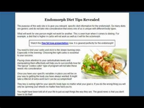 endomorph diet  tips    work youtube