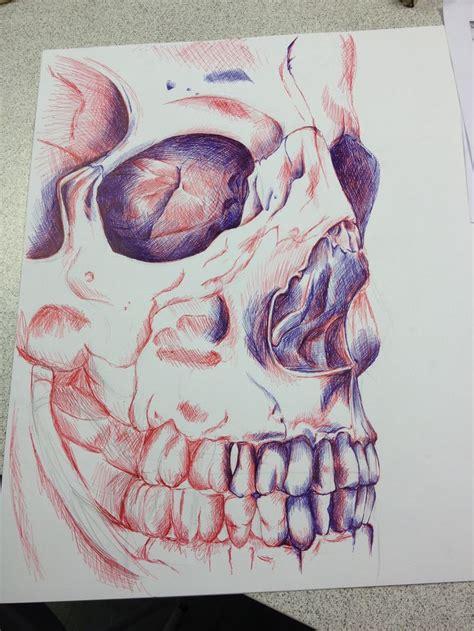red blue biro drawing progress green skull