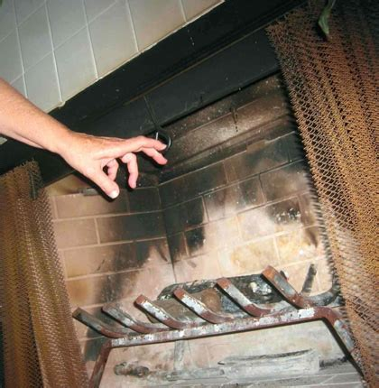 open  chimney damper traditional fireplace