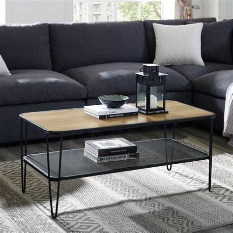 The timber pink and brass coffee table works great as a coffee table, accent table, magazine table, cocktail table, waiting room table or lobby table. Manor Park Mid-Century Modern Wood Coffee Table with Lower Metal Shelf - Rustic Oak - Walmart.com