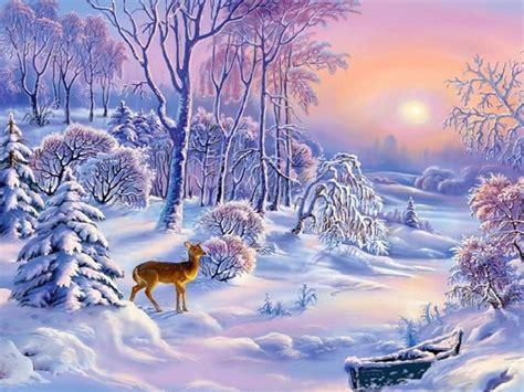 landscape winter sun boat snow trees deer