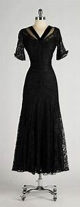 Vintage 1940's Black Chantilly Lace Illusion Bodice Dress ...