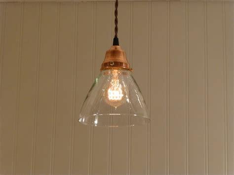 copper pendant light  hand blown glass funnel shade