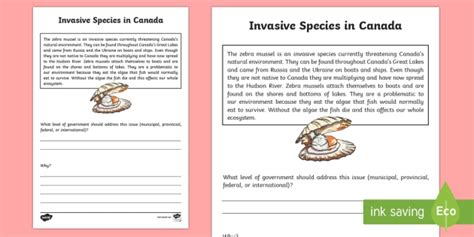 Invasive Species Writing Worksheet  Worksheet  Uniquely Canadian, Social