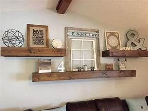 Floating shelves rustic farmhouse farmhouse style and for Kitchen cabinets lowes with decorative wall art for living room