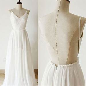 Delicate White Chiffon Backless Prom Dress With Lace ...