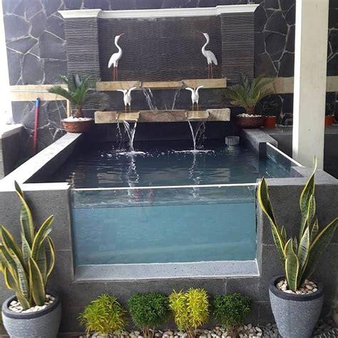 kolam ikan mini kaca taman depan rumah kolam ikan