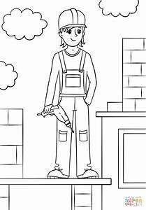 Girl Construction Worker Coloring Page Free Printable