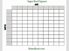 Print SuperBowl Square Grid 100 Boxes Office Pool Football