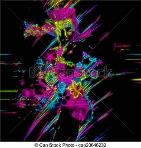 Drawings of Punk Neon Party Girl This abstract digital art image is a csp Search Clipart Illustration and EPS Vector Graphics