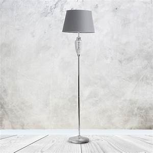 Mirrored Crackle Glass Floor Lamp With Grey Shade