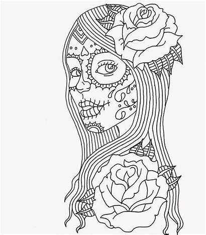 Coloring Adult Pages Skull Abstract
