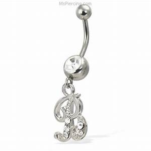 Cursive initial belly button ring at MsPiercing.com