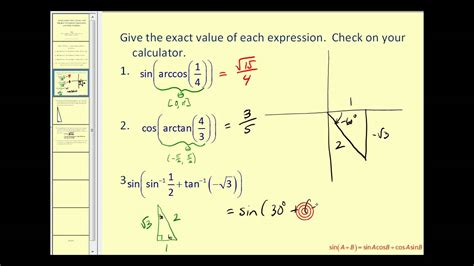 Evaluating Expressions Involving Inverse Sine, Inverse Cosine, And Inverse Tangent Youtube