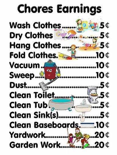 Charts Chores Chart Chore Money Earn Hard