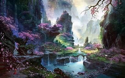 Wallpapers Sakura Landscape Waterfall River Temple Trees