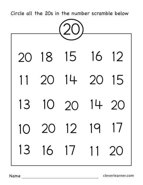 counting to 20 worksheets kindergarten cialiswow