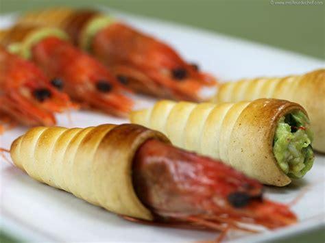 cornet feuillete aux crevettes  guacamole la recette