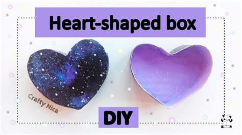 HOW TO MAKE A HEART SHAPED BOX (with galaxy print) DIY