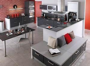 cuisine rouge et gris anthracite lapeyre mur briques rouge With cuisine mur rouge et gris