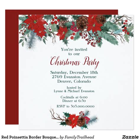 Red Poinsettia Border Bouquet Christmas Party Invitation