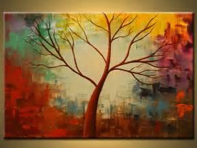 Abstract Tree Paintings Acrylic