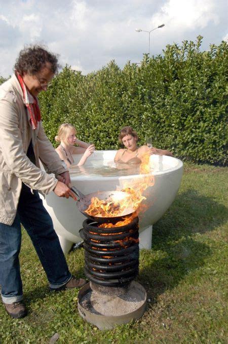 dutch design wood burning hot tub grill  yeah