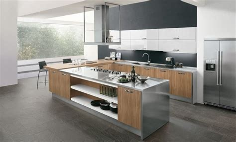 combinacion acero inoxidable  madera en cocinas google