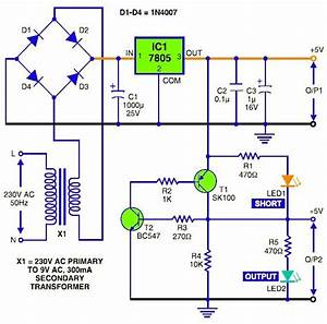 5v Dc Regulated Power Supply With Short Circuit Protection