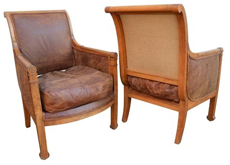 19th Century Pair Of French Leather Armchairs At 1stdibs