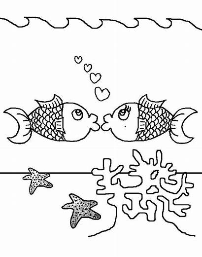 Coral Reef Pages Coloring Kissing Fish Above