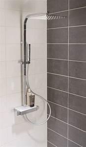 Colonne De Douche Avec Tablette : alterna colonne douche avec mitigeur thermostatique domino chrom cedeo ~ Melissatoandfro.com Idées de Décoration